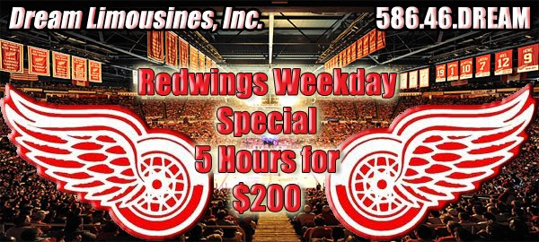 Detroit Redwings Party Bus deals and Limousine Specials