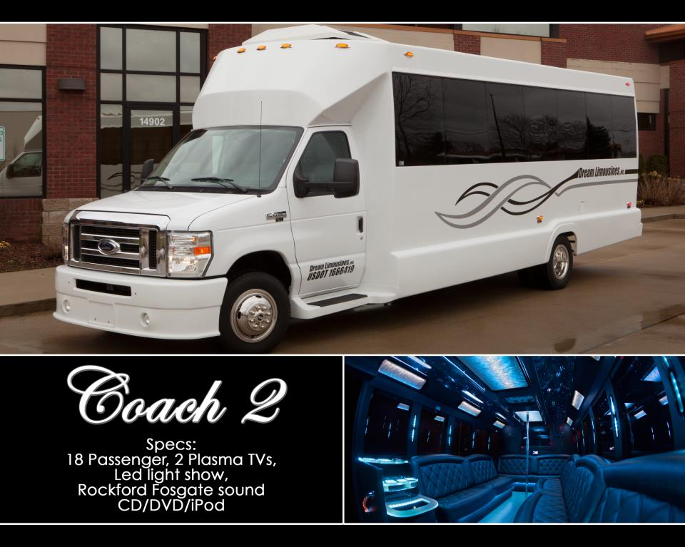 Limousine Coach Bus for prom, birthday party, wedding, bachelorette and bachelor parties